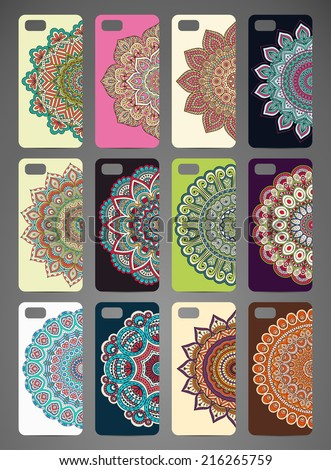 Phone cover collection, delicate floral pattern. Vector background. Vintage decorative elements. Hand drawn background. Islam, arabic, indian, ottoman motifs. - stock vector