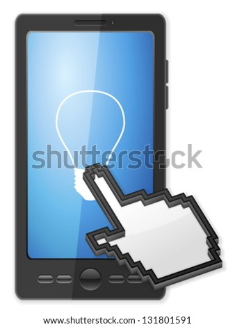 Phone, cursor and bulb symbol on a white background. - stock vector
