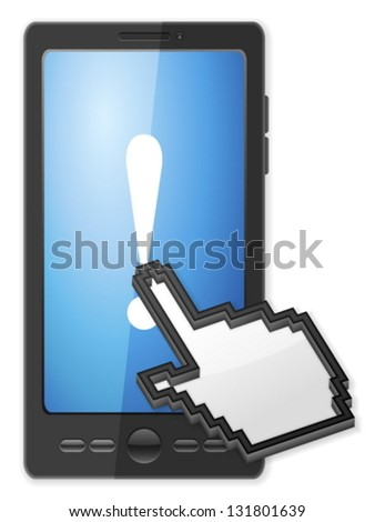 Phone, cursor and exclamation mark symbol on a white background. - stock vector