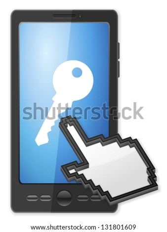 Phone, cursor and key symbol on a white background. - stock vector