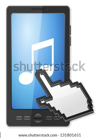 Phone, cursor and music symbol on a white background. - stock vector