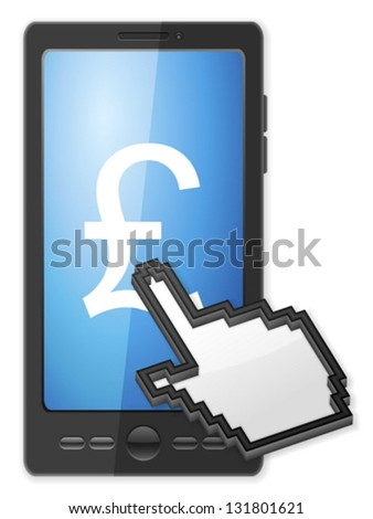 Phone, cursor and pound symbol on a white background. - stock vector