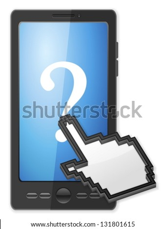 Phone, cursor and question symbol on a white background. - stock vector