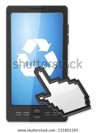 Phone, cursor and recycle symbol on a white background. - stock vector