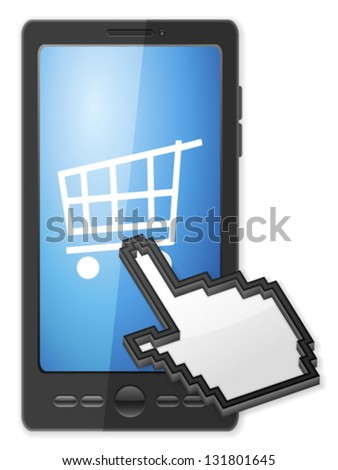 Phone, cursor and shopping cart symbol on a white background.