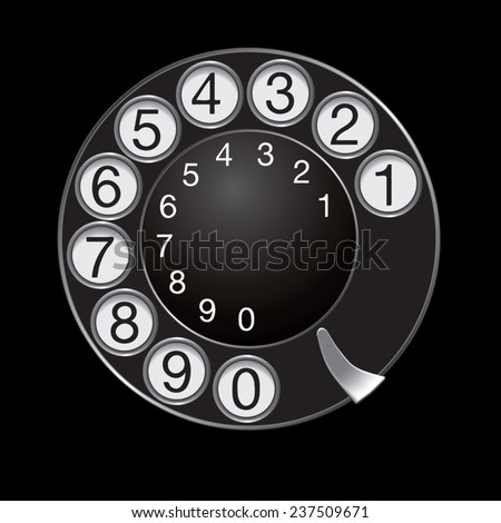 Phone dial isolated on black background. Vector illustration - stock vector