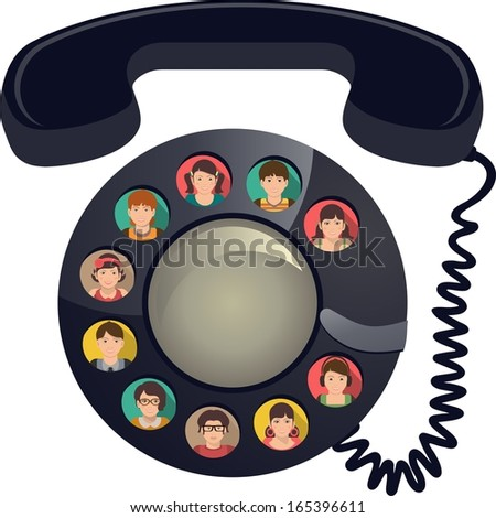phone disk that you assigned to the handset, the disk in the cells for the rooms people icons  for quick access and conference calls - stock vector