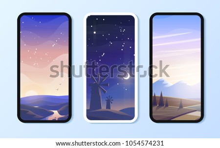 Phone Environment Wallpaper Set Vector Illustration EPS 10