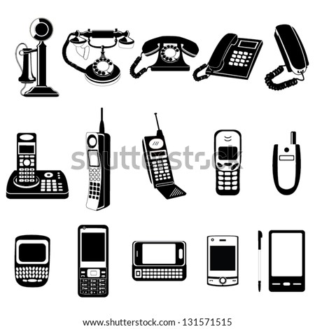 Phone evolution vector icons - stock vector