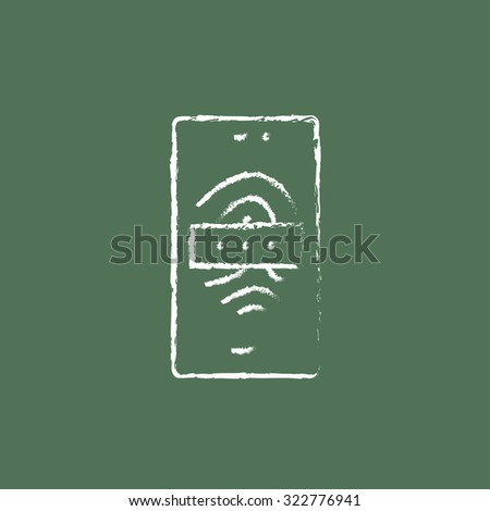 Phone fingerprint hand drawn in chalk on a blackboard vector white icon isolated on a green background. - stock vector