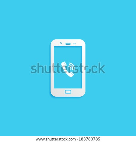 phone, flat icon isolated on a blue background for your design, vector illustration - stock vector