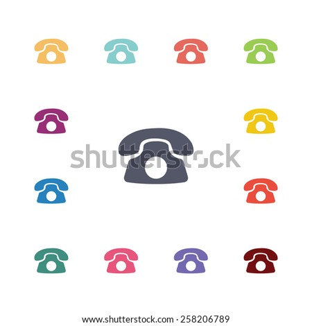 phone flat icons set. Open colorful buttons  - stock vector