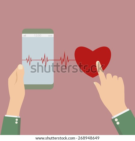 phone goes into life with a heartbeat. vector