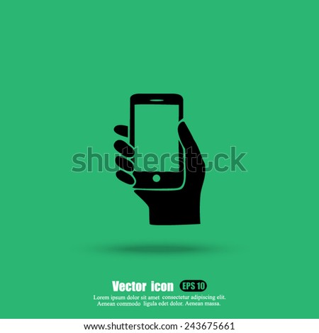 phone hand  vector icon - stock vector