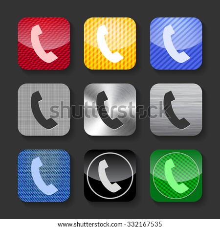Phone handset sign on glossy and metallic rounded square icons with. Vector Illustration - stock vector