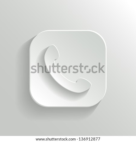 Phone icon - vector white app button with shadow