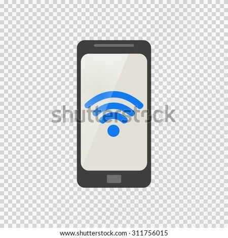 phone icon wireless network - stock vector
