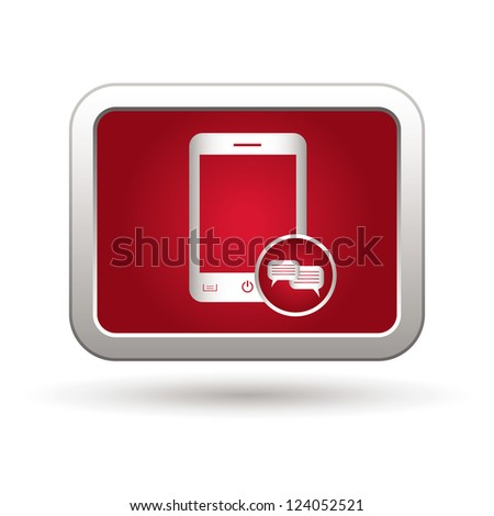Phone icon with chat menu. Vector illustration - stock vector