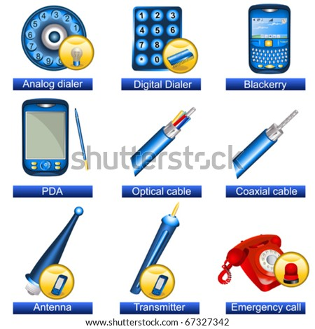 Phone icons 5 - stock vector