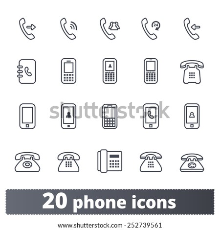 Phone icons: communication vector set. Outline series. - stock vector