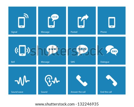 Phone icons on blue background. Vector illustration. - stock vector