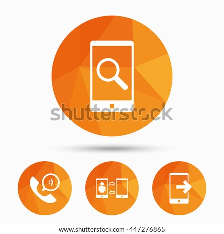 Phone icons. Smartphone with speech bubble sign. Call center support symbol. Synchronization symbol. Triangular low poly buttons with shadow. Vector