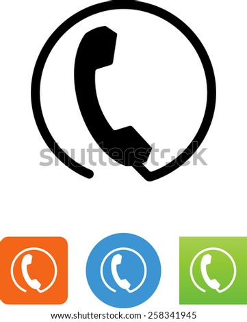 Phone in a circle. Vector icons for video, mobile apps, Web sites and print projects.  - stock vector