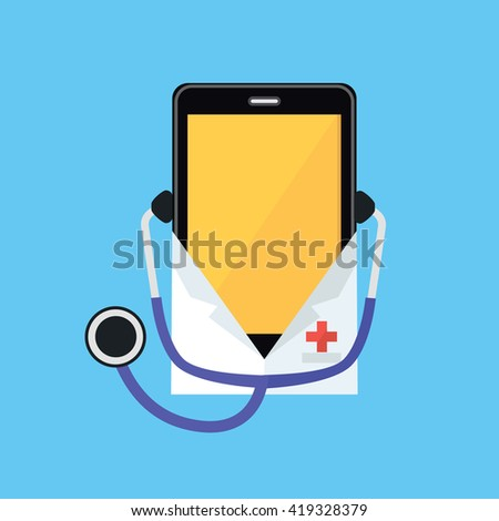 Phone in a white coat and stethoscope. Smartphone dressed in a doctor shape isolated on a blue background. Medical healthcare and medicine mobile consultant in uniform profession. Vector illustration - stock vector