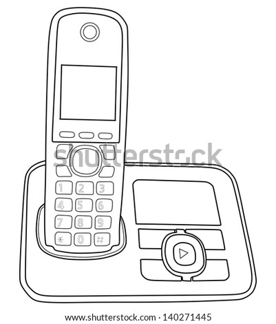 Phone isolated on white background vector, Cordless black Phone Vector, no cable,communications - stock vector