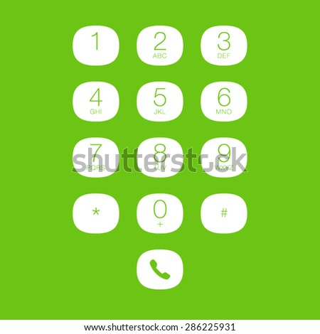 Phone Keypad for Touchscreens. Vector User Interface - stock vector