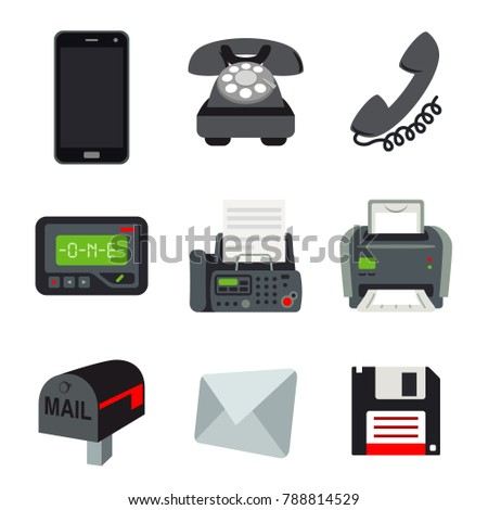 Phone Mobile Fax Printer Pager Beeper Letter Mail Disk Communication object Vector
