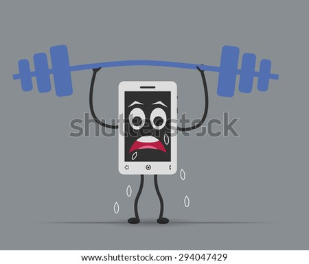 phone mobile lifting weights - stock vector