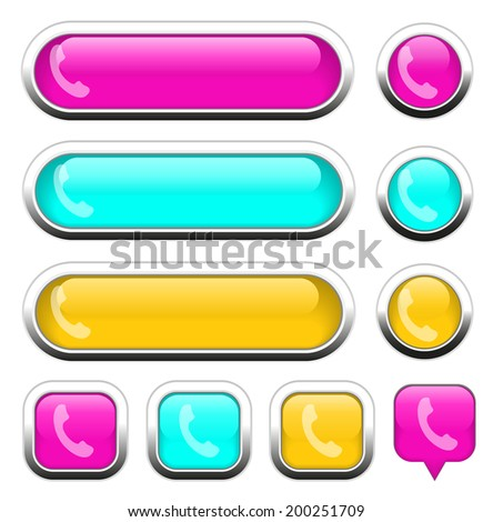 Phone multi-colored design elements for website or app. Vector eps10. - stock vector