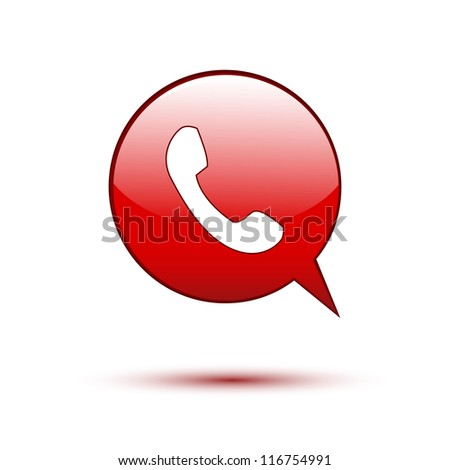 Phone on red word bubble speech - stock vector