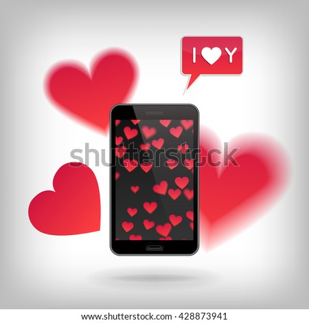 Phone on with heart pattern and with cut hearts flying around. Valentine's Day and Love concept, realistic illustration.  Heart and phone vector, heart and phone concept, heart and phone illustration