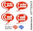 Phone Orders, Call now, Order now speech bubbles - stock vector