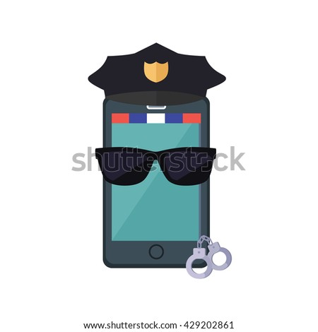 Phone protection design concept. flat style. Smartphone dressed in a police cap in black glasses with handcuffs. Protection of mobile phone and security digital access web, vector illustration - stock vector