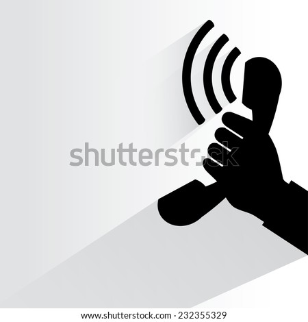 phone ring symbol on white background, flat and shadow theme - stock vector