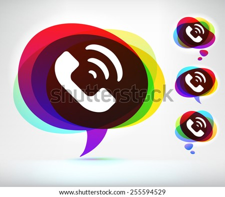 Phone Ringing on Colorful Speech Bubble