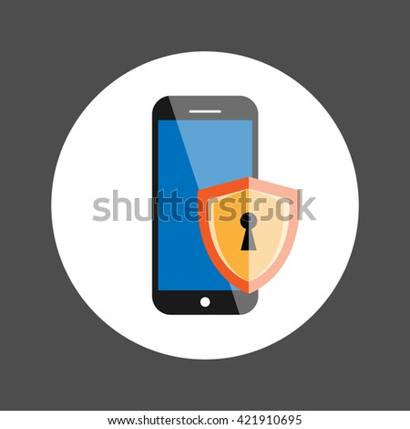 Phone Security, Personal security Concept, Flat design vector illustration - stock vector