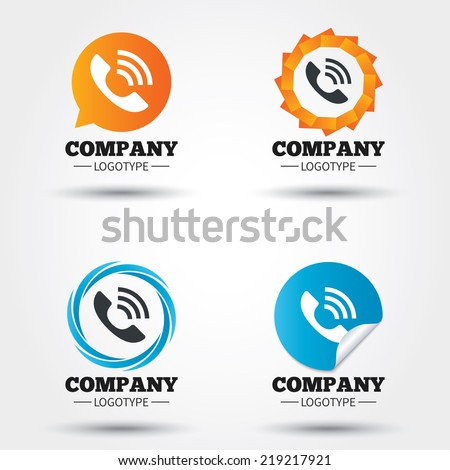 Phone sign icon. Support symbol. Call center. Business abstract circle logos. Icon in speech bubble, wreath. Vector - stock vector