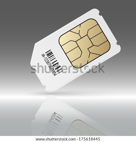 Phone sim card with reflection - stock vector