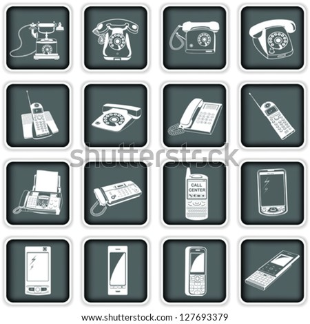Phone squared icons - stock vector