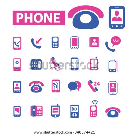 phone, telephone, cell  icons, signs vector concept set for infographics, mobile, website, application - stock vector