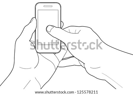 Phone touch gestures. Touch the screen - stock vector