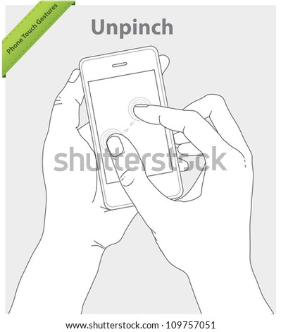 Phone touch gestures. Unpinch screen - stock vector