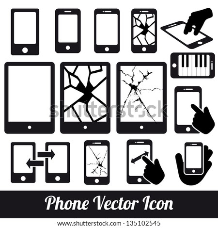 Phone touch vector communication icons - stock vector
