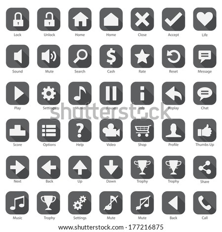 Phone Web Internet Grey Icon Set  - stock vector