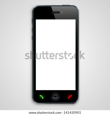 Phone with a white screen - stock vector