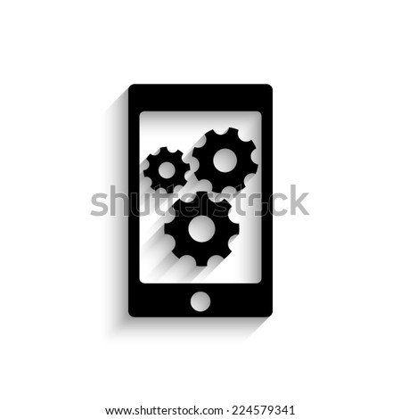 phone with gears and cogs  - black vector icon with shadow - stock vector